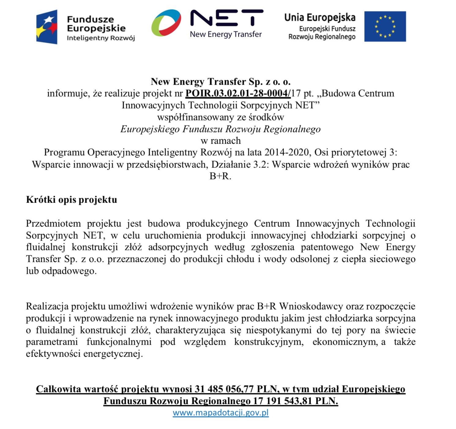 Centrum Produkcyjne Technologii Sorpcyjnych Net Net